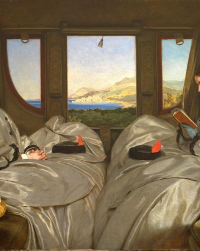 Talk image: two women rinding in a coach