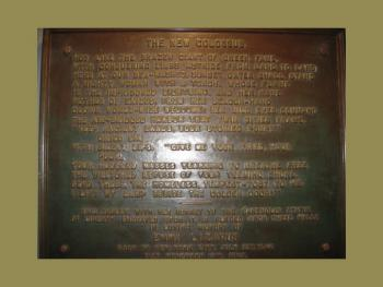 "Bronze plaque of the ""New Colossus"" in the Statue of Liberty Museum"
