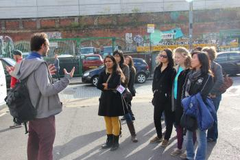 English majors on a street art tour in East London
