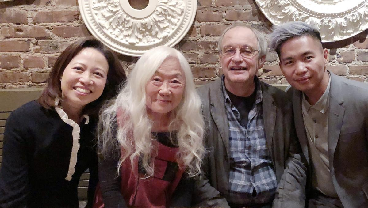 Pictured from left to right: Professor Anne A. Cheng (English), Maxine Hong Kingston, Professor James Richardson (Lewis Center for the Arts), and Professor Paul Nadal (English).